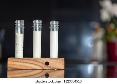 Organic probiotic milk kefir grains, 3 laboratory glass tubes on a wooden holder with kefir grains, fresh milk, kefir yogurt on black granite background, front view, blurred background