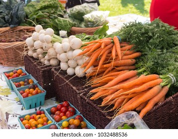 organic produce on sale at outdoor farmers market