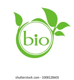 Organic product. Bio ecology. Natural bio product sign. Biotechnology sign.