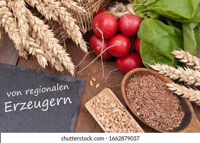 """Produits biologiques avec carton et texte allemand: """"des producteurs régionaux"""""""