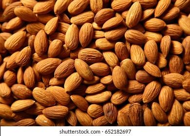Organic raw Almond seeds background texture,