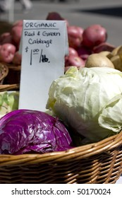 Organic red and green cabbage