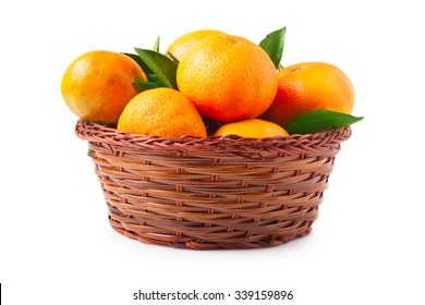 organic ripe mandarins in basket on white background.