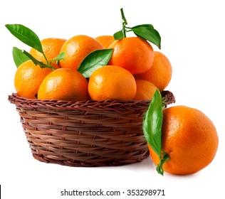 organic ripe mandarins in basket on white background.
