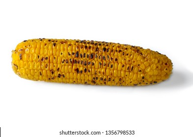 Organic roasted sweet corn on the cob on white background