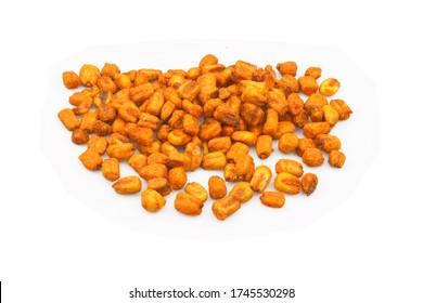 Organic Salted roasted corn isolated on white background