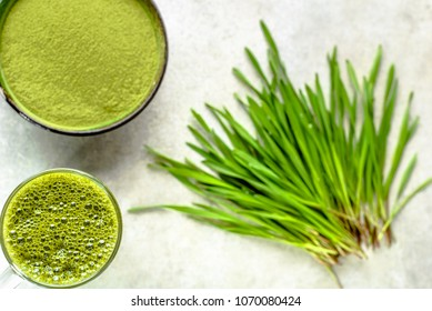 Organic smoothie or green drink, detox with barley grass, healthy juice in jar, top view