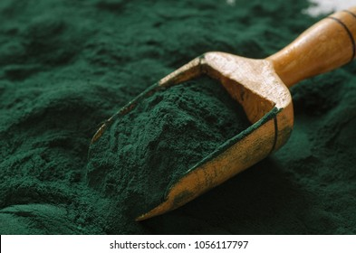 Organic spirulina powder. Spirulina is a superfood used as a food supplement source of vitamin protein and beta carotene