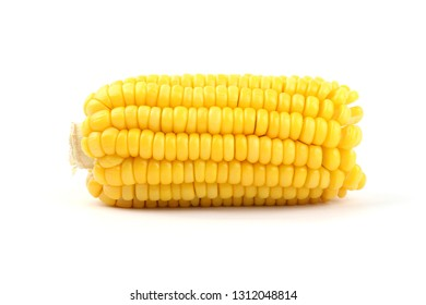 Organic sweet corn isolated on white background.
