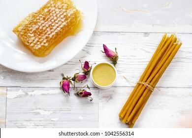 organic tasty honeycomb, honey lip balm, pink wild roses and natural candles