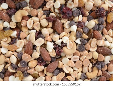 organic trail mix with nuts dried cranberries and sweet pieces of candy