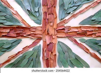 Organic United Kingdom flag made with organic materials such as leaves and red bark