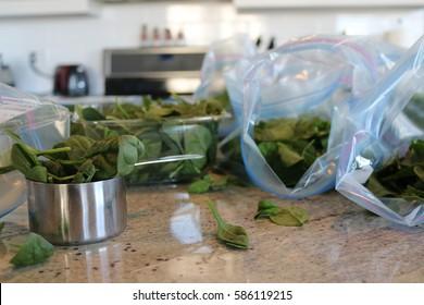 Organic vegan make ahead smoothie bag ingredients; organic spinach