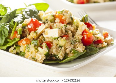 Organic Vegan Quinoa with vegetables like tomato, tofu, and cucumber