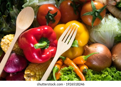 Organic vegetables for health with Tape measure fork and spoon.Eating vegetables for healthy  concept.