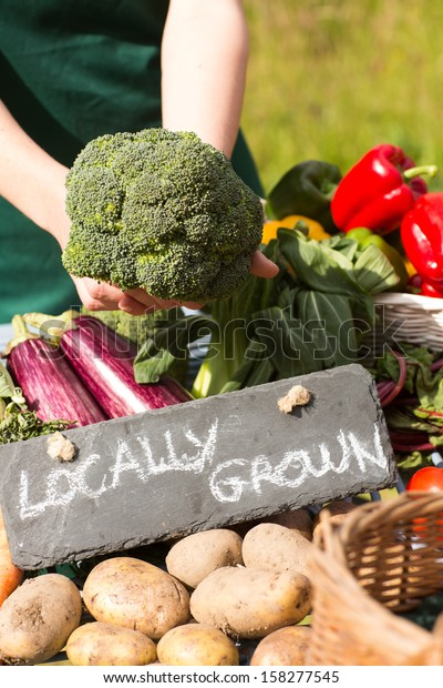 Organic vegetables presented on a stand for sale at a farmers market
