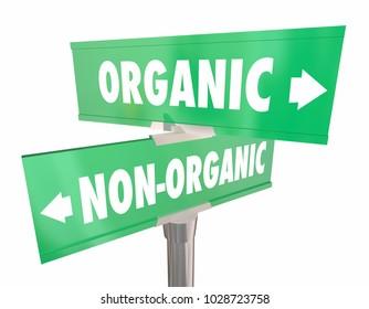 Organic Vs Non-organic Road Street Signs 3d Illustration