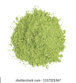Organic wheatgrass powder isolated on white background, top view