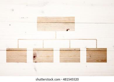 Organigram on wooden background