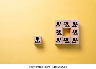 organization and a leader with employees symbolized with cubes