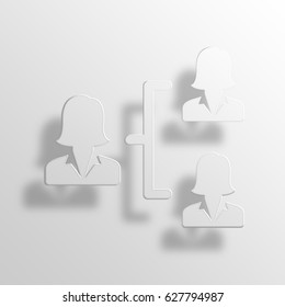 organizational structure 3D Paper Icon Symbol Business Concept