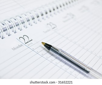 Organizer with black pen