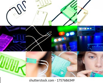 Organ-on-a-chip (OOC) - microfluidic device chip that simulates biological organs that is type of artificial organ. Prototype of design lab-on-a-chip in microfluidic laboratory