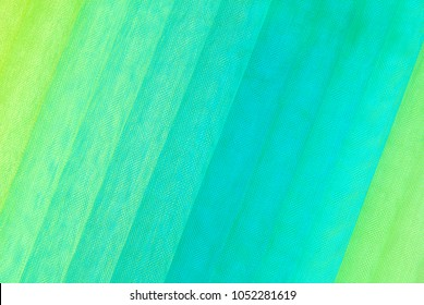 organza fabric blue green and yellow color