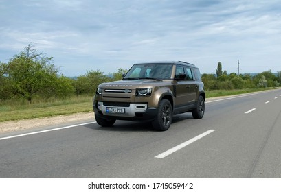 Orhei, Rep. of Moldova: 24 May 2020 - New Land Rover Defender 2020 - Test drive highway. Elegant and brutal Britain SUV. off-road 4x4 vehicle