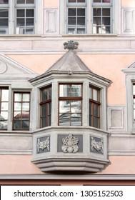 Oriel Window in an old European town, Schaffhausen, Switezrland