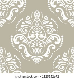 Orient classic white pattern. Seamless abstract background with repeating elements. Orient background
