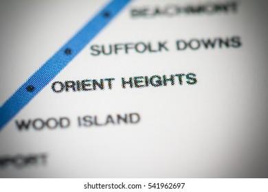Orient Heights Station. Boston Metro map.