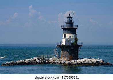 The Orient Point Lighthouse, also known as the Coffee Pot Lighthouse, is a cast-iron and brick lined structure in New York's Long Island Sound.