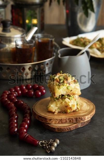 Oriental Arabic Sweet Called Basbosa Semolina Stock Photo