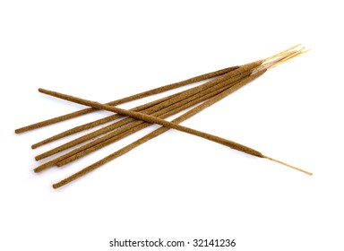 oriental aromatic incense sticks isolated on white