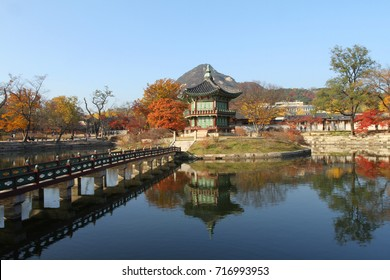 Oriental Asian style palace in Seoul South Korea in Autumn