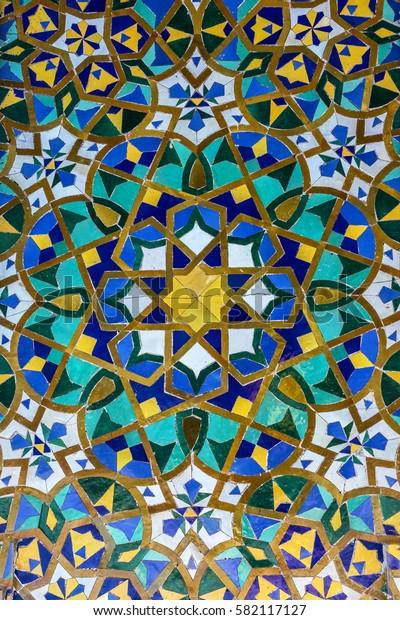 oriental background, Moroccan mosaic tile, ceramic decoration of Hassan II Mosque, Casablanca, Morocco