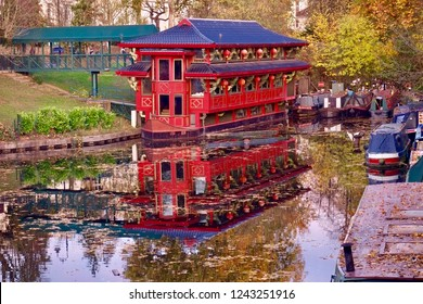 Oriental building on the water.
