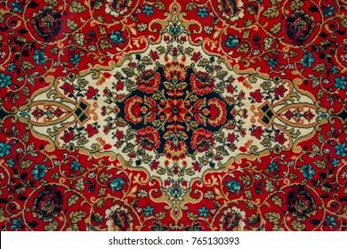 Oriental carpet pattern close