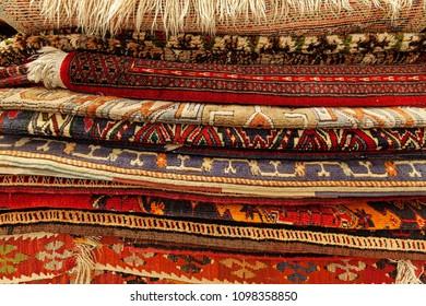 Oriental carpets in street market