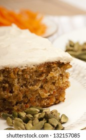 Oriental carrot cake with marscapone and brown sugar topping. With grated carrot and cardomoms.