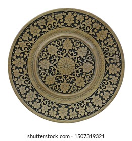 Oriental carved ornament on wooden plate.White background.