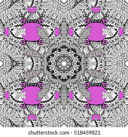 Oriental filigree ornament with white contours. Seamless raster ornate background. Pink pattern of mandalas.