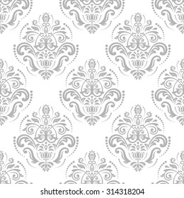 Oriental  fine classic silver pattern. Seamless abstract background