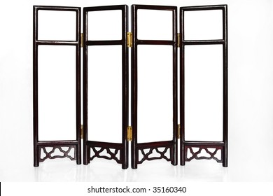 Oriental Folding Screen isolated for creative image montage