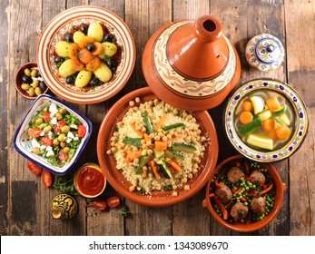 oriental food assortment with couscous,tajine,meatball and salad
