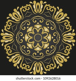 Oriental golden round pattern with arabesques and floral elements. Traditional classic ornament. Vintage pattern with arabesques