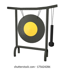 Oriental gong isolated over white background, 3d render