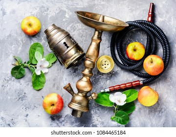 Oriental hookah with the aroma apple for relax.Apple shisha.Shisha Concept