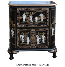 Oriental lacquered inlaid cabinet